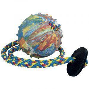 Pelota para perro Gappay de 6cm con cuerda y tope de cuero.